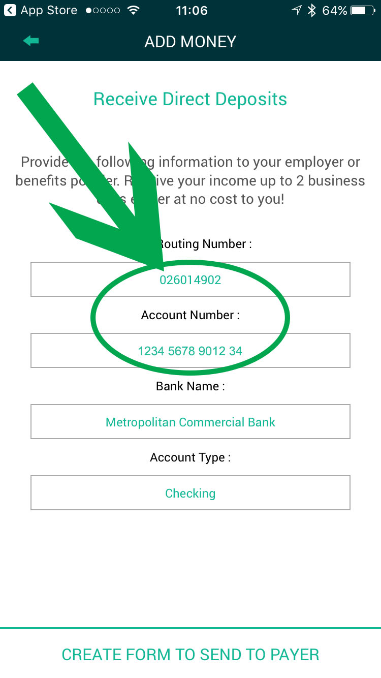 Direct Deposit Form for the Waleteros Prepaid Card