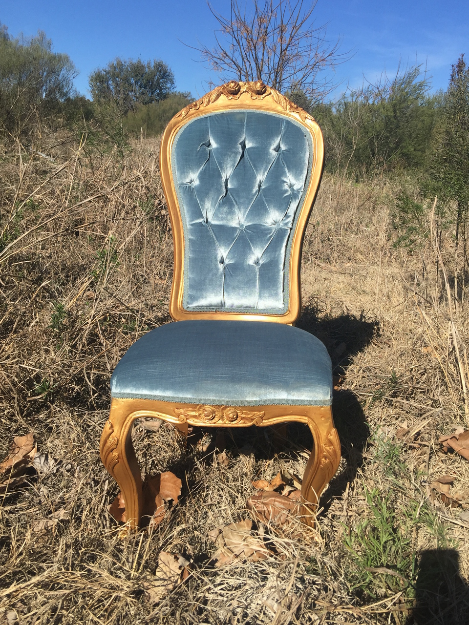 french velvet chair steel red vintage upholstered rentals louisa blue our smoky is trimmed in antique gold pair this with settee to complete your