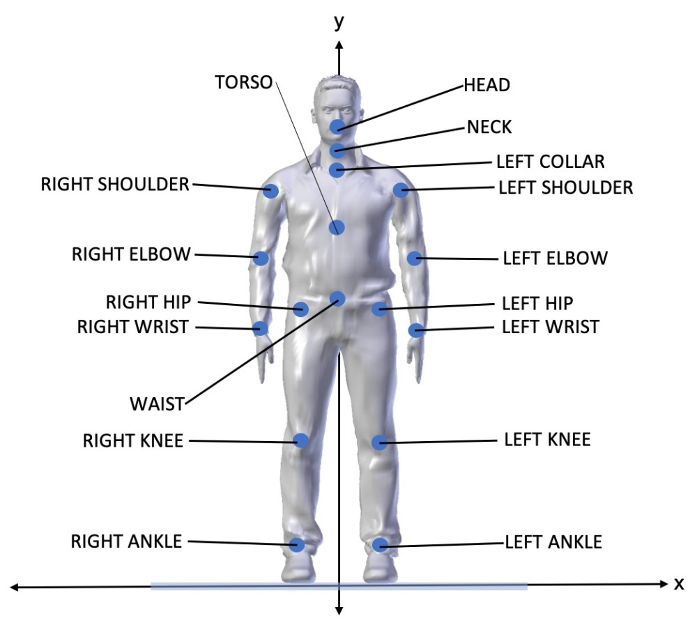 medium resolution of each joint is essentially a point in 3d space represented by 3 coordinates x y and z thos joints are mapped onto a virtual body