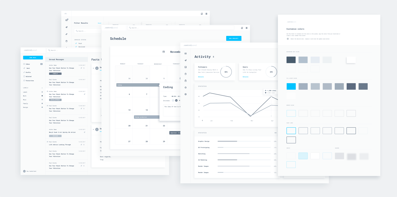 Control Panel, Design System, UI Kit, Templates