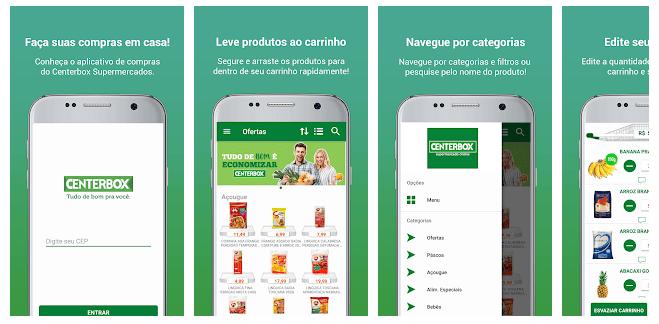 Imagens do aplicativo Centerbox na Apple e Play Store
