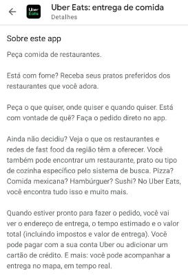Exemplo de descrição da Uber Eats