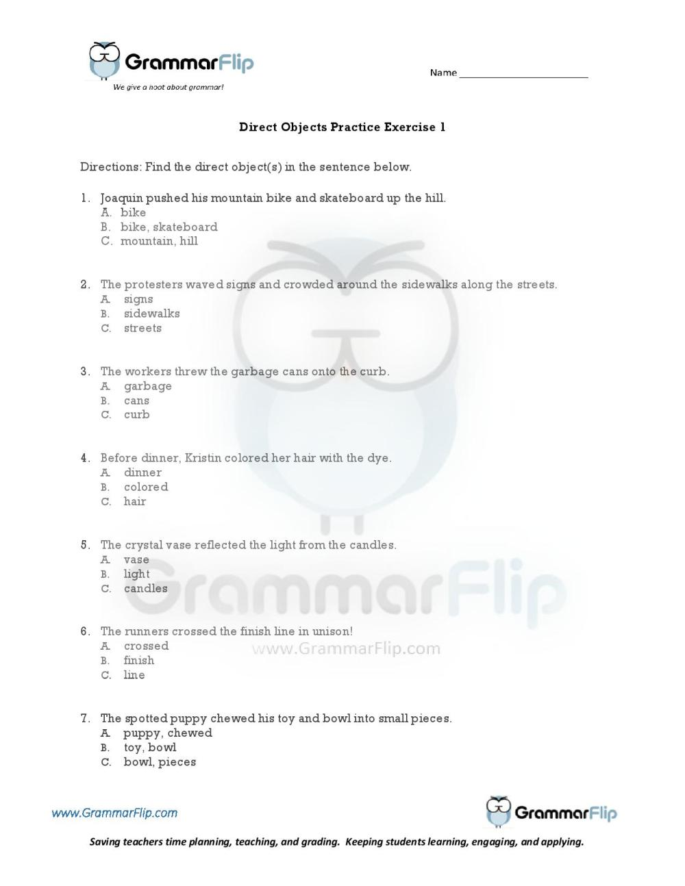 medium resolution of Direct Object Worksheet Englishlinx   Printable Worksheets and Activities  for Teachers