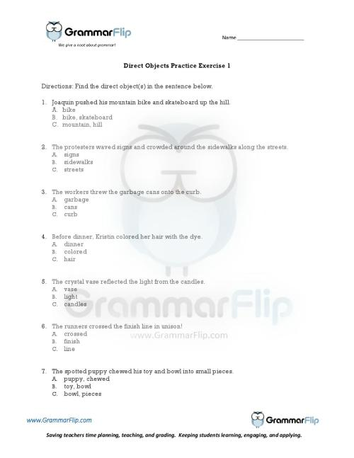 small resolution of Direct Object Worksheet Englishlinx   Printable Worksheets and Activities  for Teachers