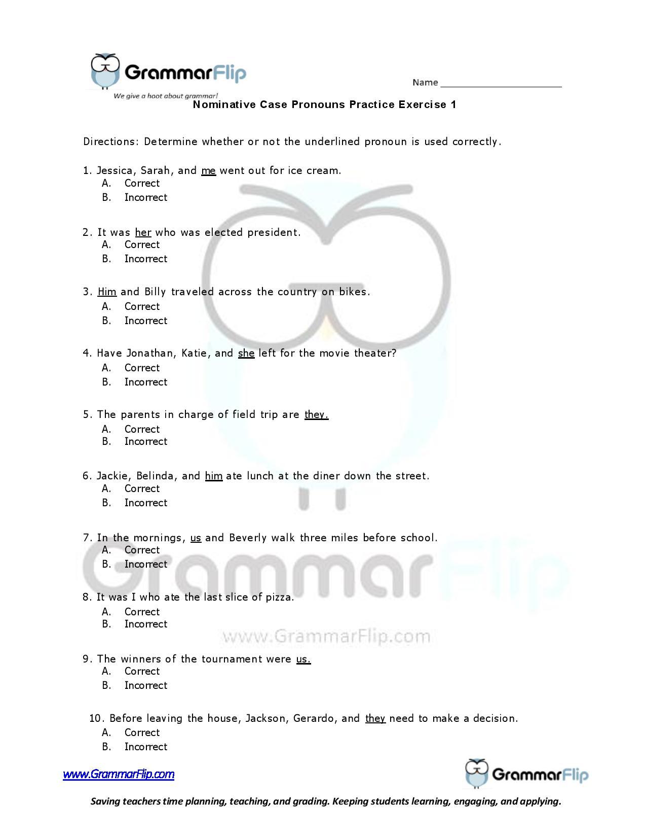 Nominative Case Pronouns