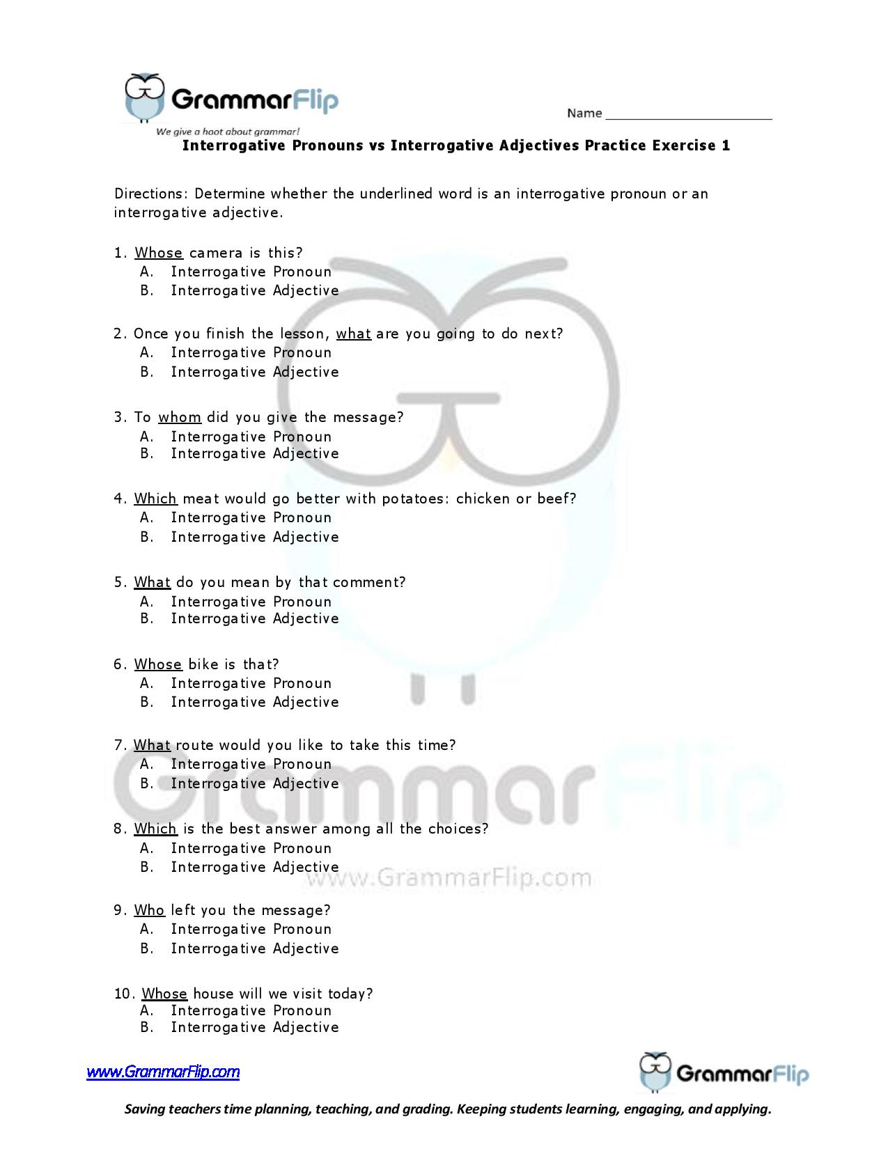 Interrogative Pronouns Vs Interrogative Adjectives