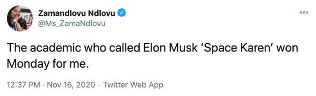 The academic who called Elon Musk 'Space Karen' won Monday for me.