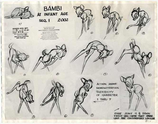 Marc Davis created the final design of Bambi by incorporating LeBurn's  realistic study of deer anatomy but exaggerating the ...