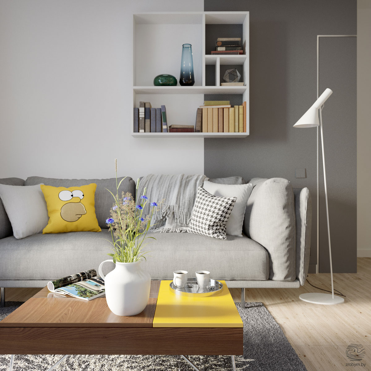 gray and yellow living
