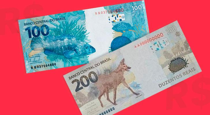 PRATODOSVEREM: Notas de 100 e 200 reais com a face dos animais aparecendo.