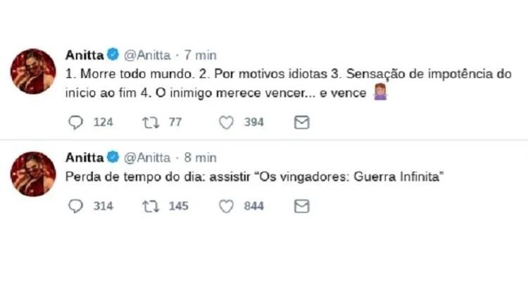anitta - Anitta critica 'Vingadores: Guerra Infinita' e solta spoilers no Twitter