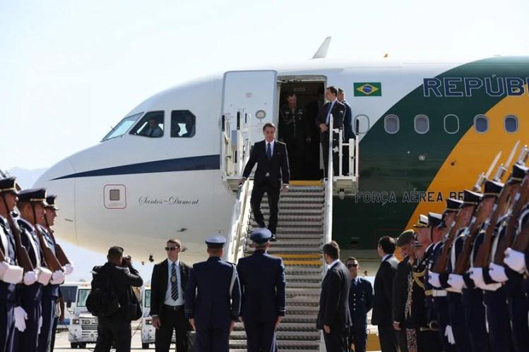 Jair Bolsonaro chegando ao Chile