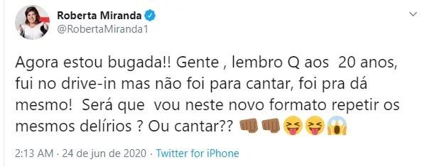 Tweet de Roberta Miranda