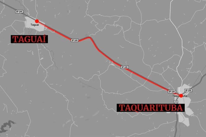 Mapa da região do acidente entre caminhão e ônibus no interior de São Paulo