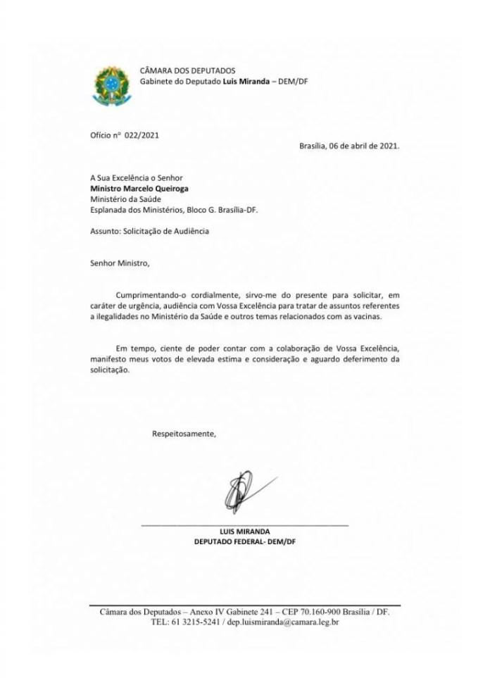 Ofício Luis Miranda a Marcelo Queiroga
