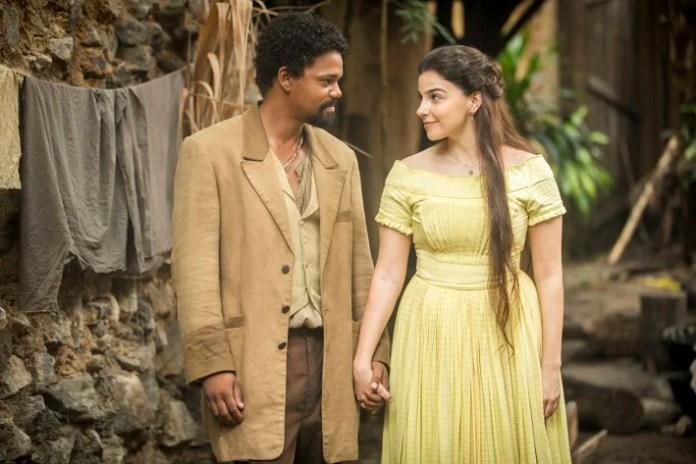 Samuel ( Michel Gomes ) e Pilar ( Gabriela Medvedovski ) em Nos Tempos do Imperador