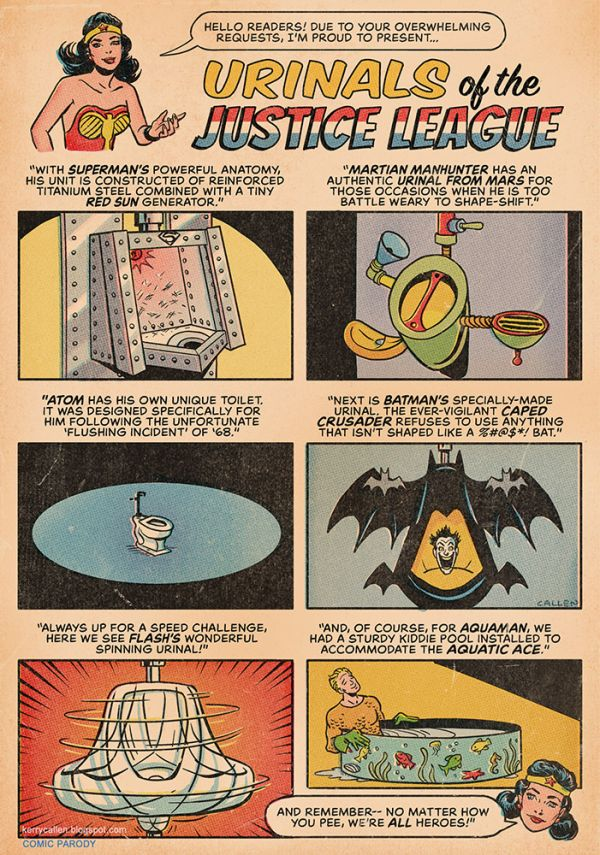 Urinals of the Justice League  Neatorama