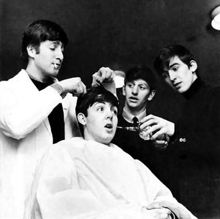 Image result for Beatles getting their hair cut