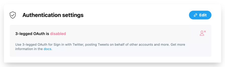 Authentication settings for our Twitter app