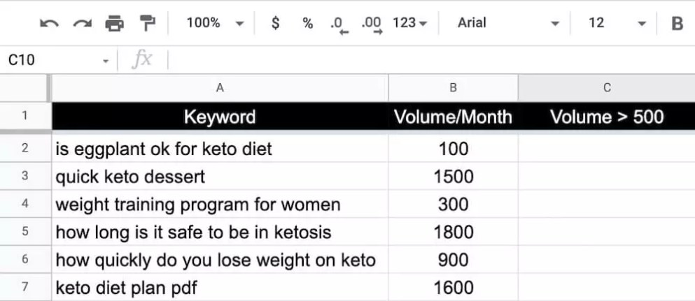 Example of a list on keywords on Google Sheets