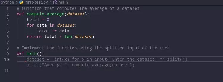 Implement compute average function