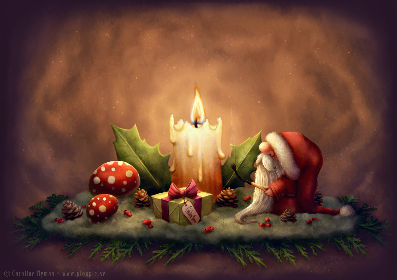 Little Santa Light A Candle Art By Caroline Nyman