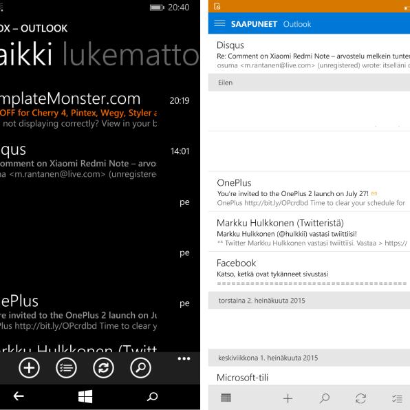 Windows Phone 8.1:n sähköposti vasemmalla ja Windows 10:n oikealla