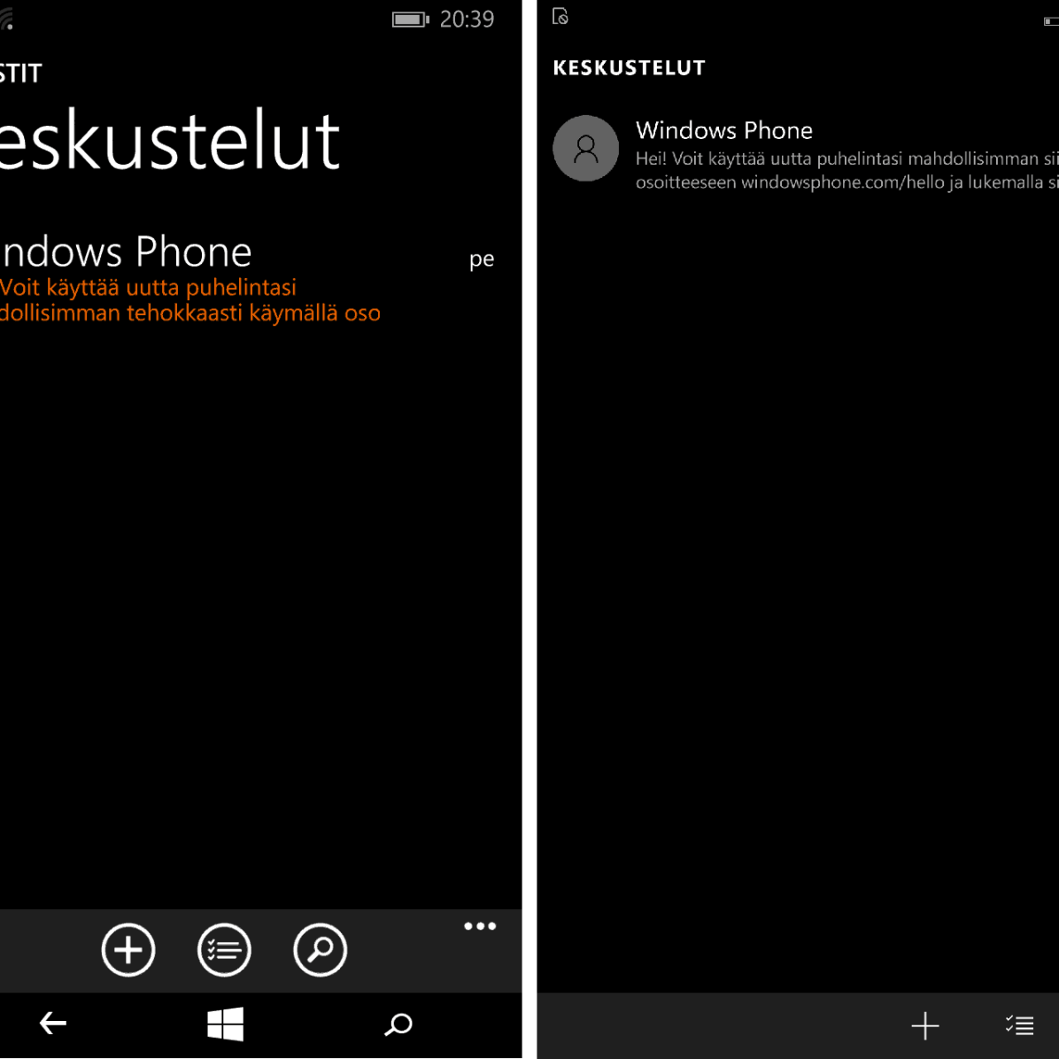 Windows Phone 8.1:n viestit vasemmalla ja Windows 10:n oikealla