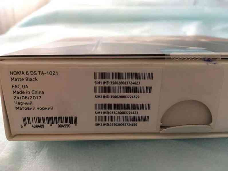 Myyntipakkauksesta käy ilmi, että kyseessä on Nokia 6 (TA-1021) Dual-SIM -versio