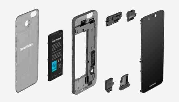 Fairphone 3:n moduulit.