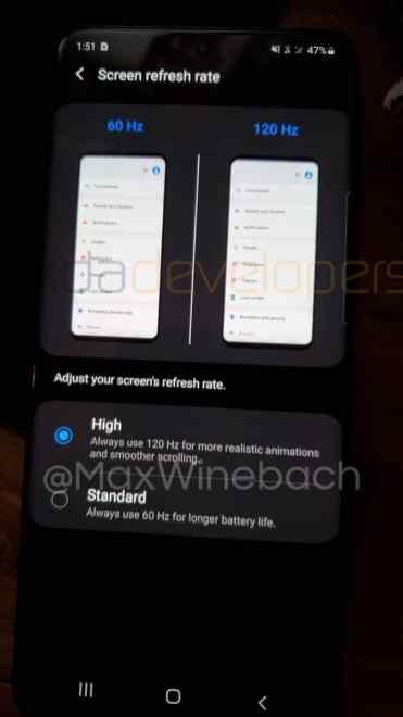 Galaxy S20+ -puhelimen näytön asetukset / Kuva: XDA Developers