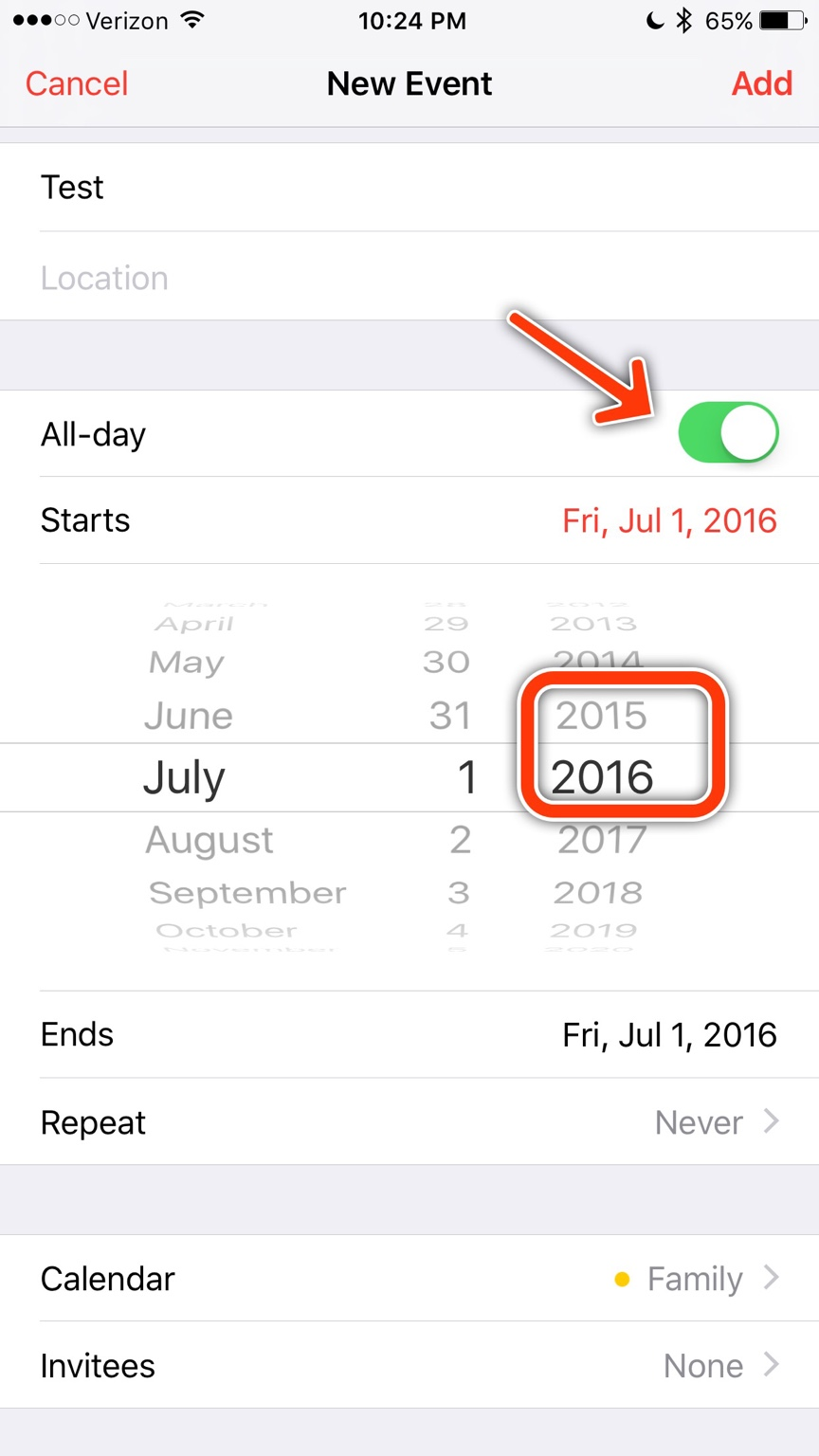 How can I change only the year on a calendar event