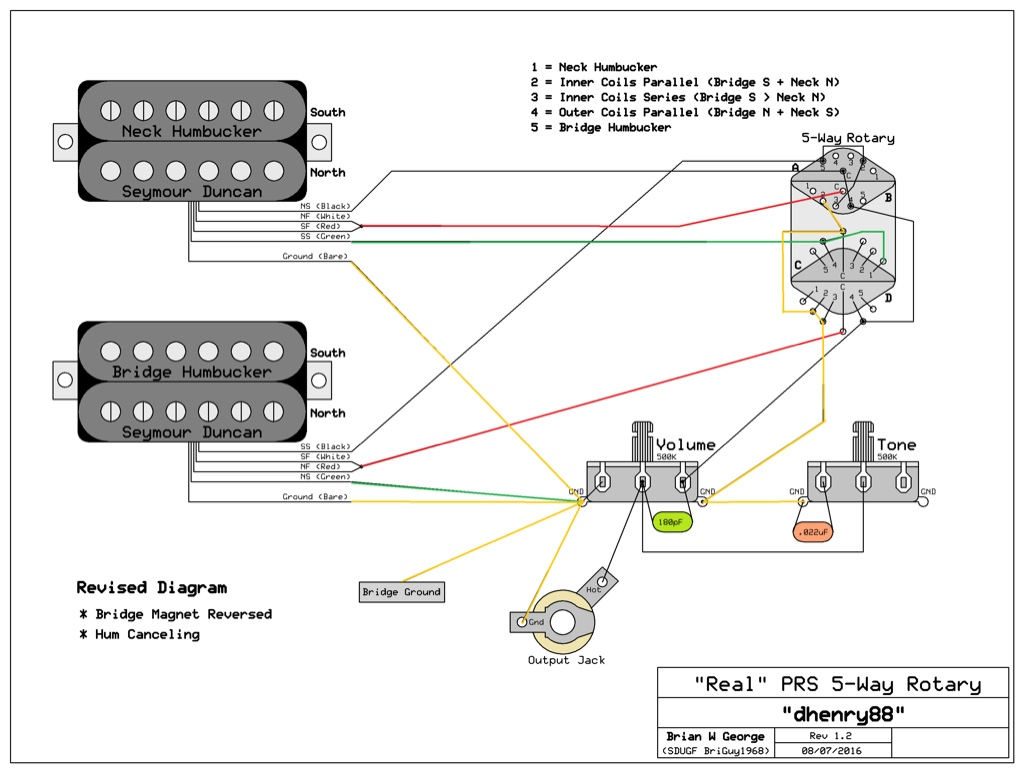 guitar wiring diagram 5 way switch for kenwood radio prs rotary reverse polarity