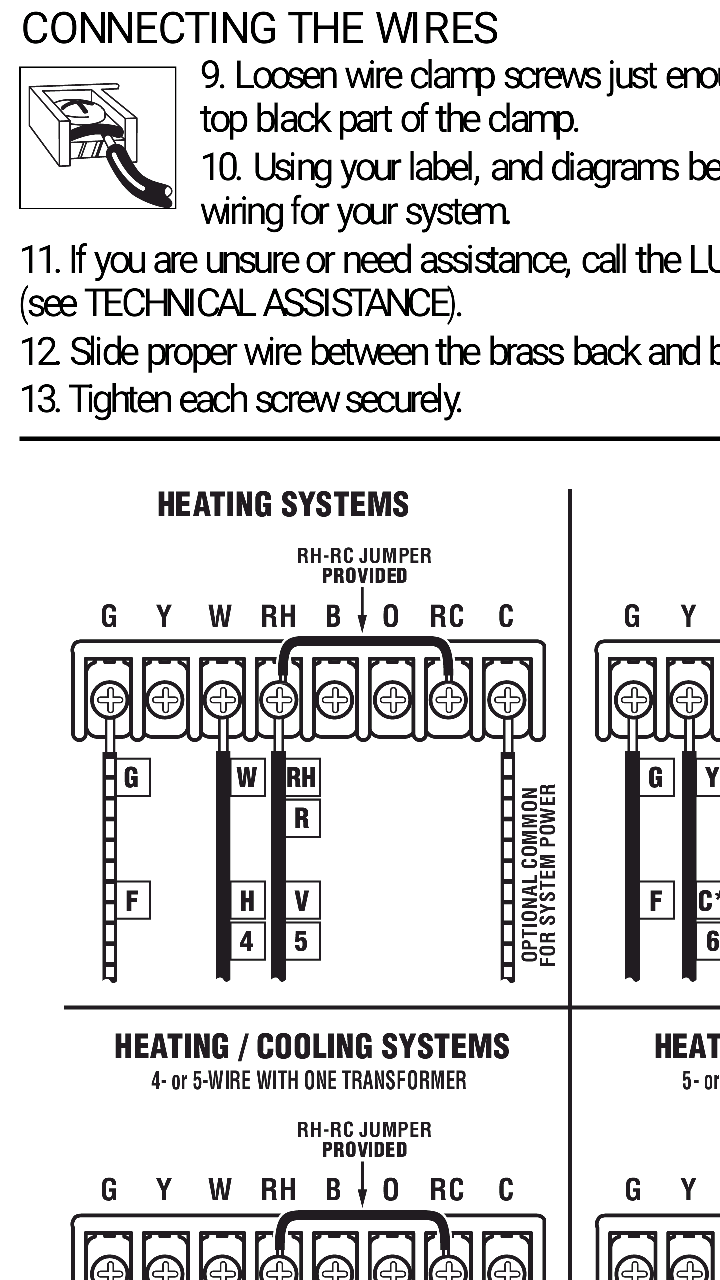 medium resolution of also the manual for the thermostat shows a diagram for heating wiring that shows a jumper wire from the rc to rh terminals is this necessary if i m only