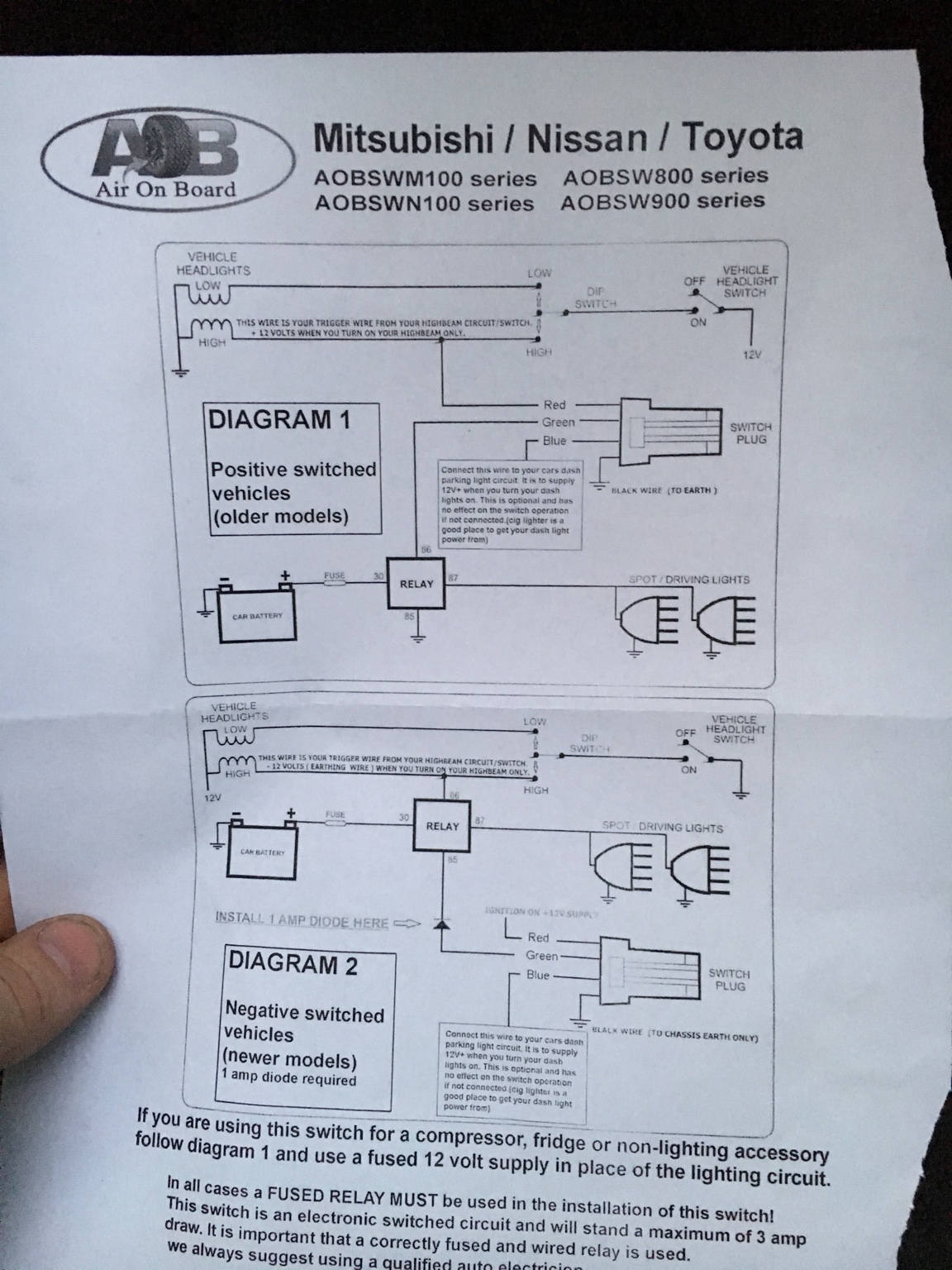 hight resolution of how do i wire my rigid light bar to this aob switch says i need a diode any help appreciated