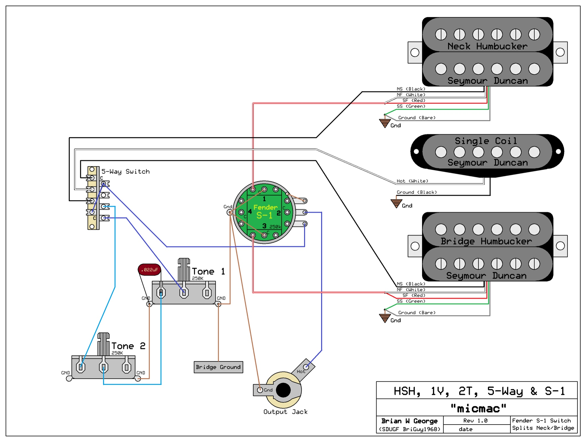 Need Wiring Diagram For An Hsh 1 Volume 2 Tone S 1 Switch For Volume