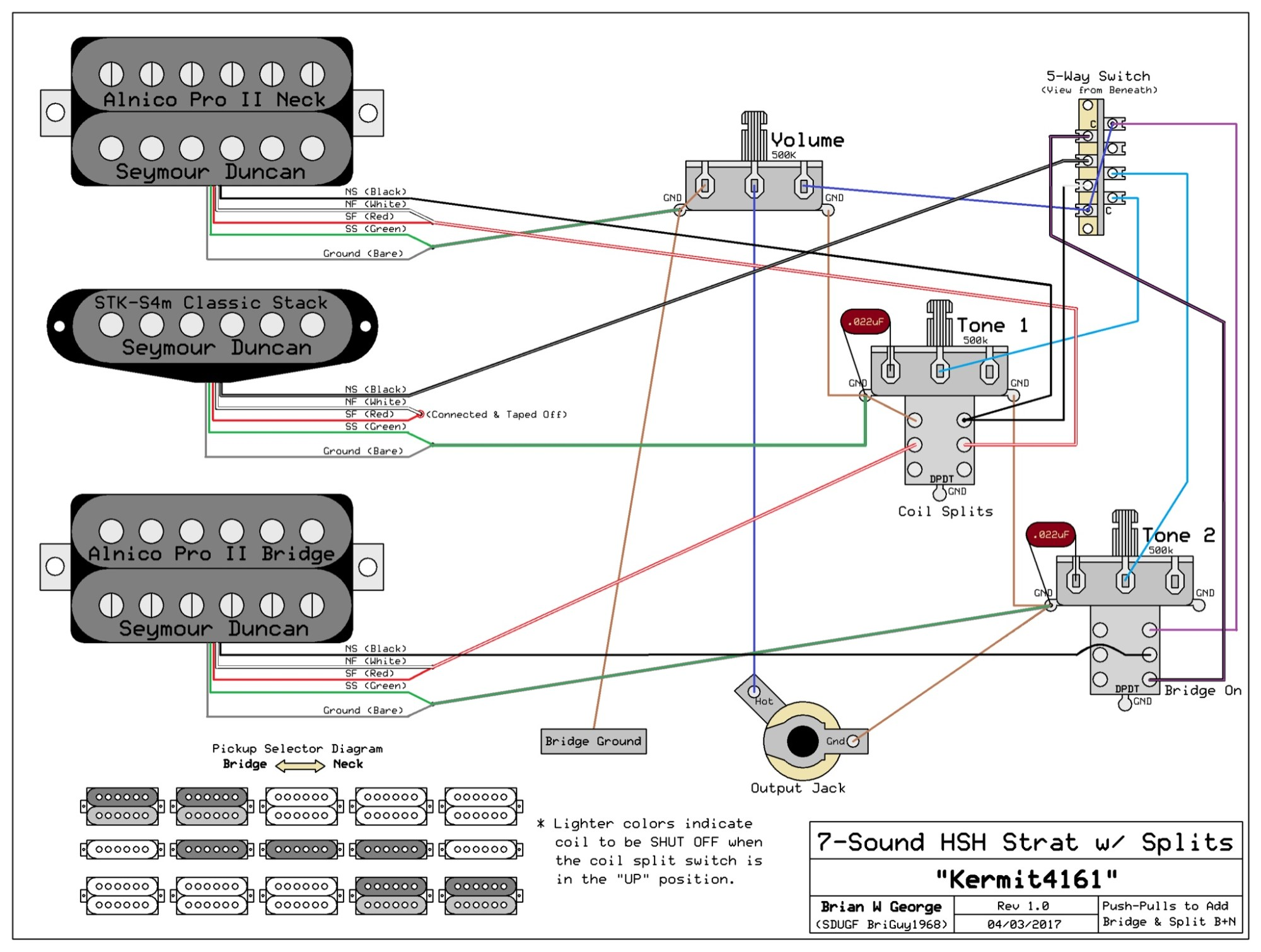 hight resolution of of pickups seymour duncan hsh w 1 volume 2 tone pots with pullups wiring