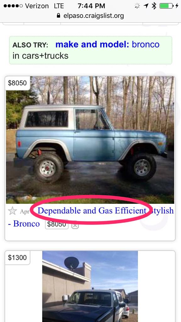 El Paso Craigslist Cars By Owner : craigslist, owner, Uncommon, Scam?, ClassicBroncos.com, Forums