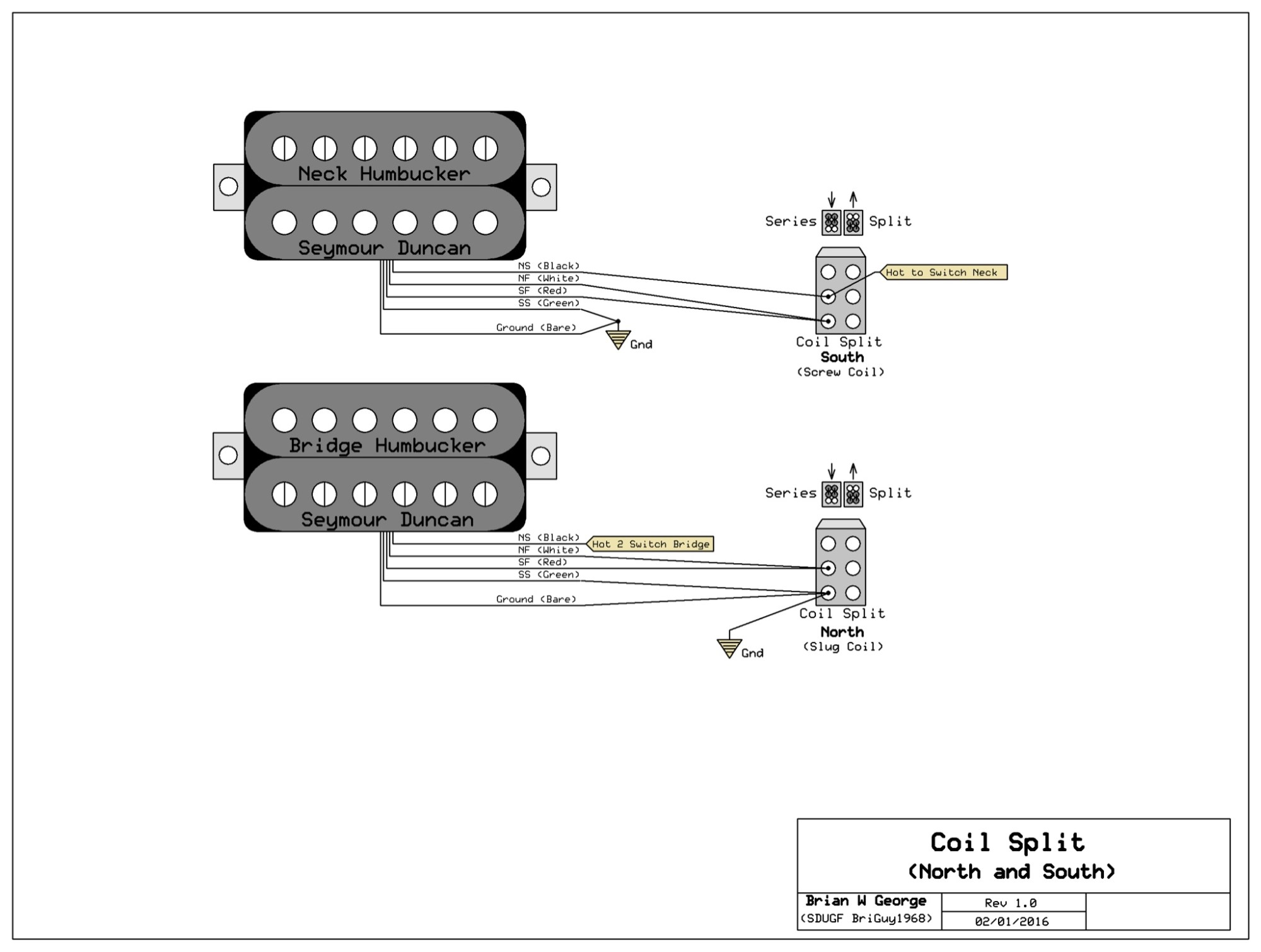 hight resolution of notice that each of the splits uses only one side of the 2 way dpdt you can use either a mini toggle or a push pull pot your split wire will do the job