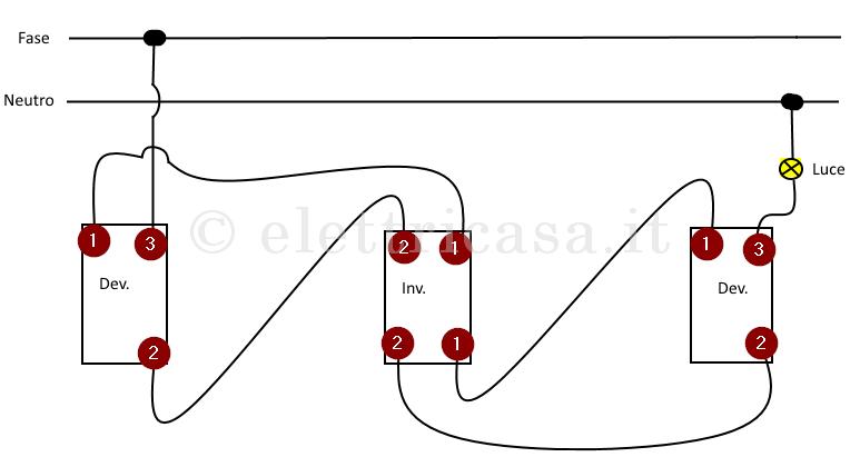 Schema Elettrico Per 3 Punti Luce: Schema elettrico per