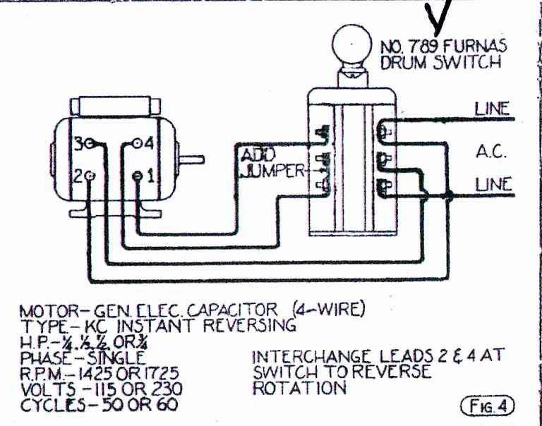 Help Wiring GE motor to Furnas Forward/Reverse Switch