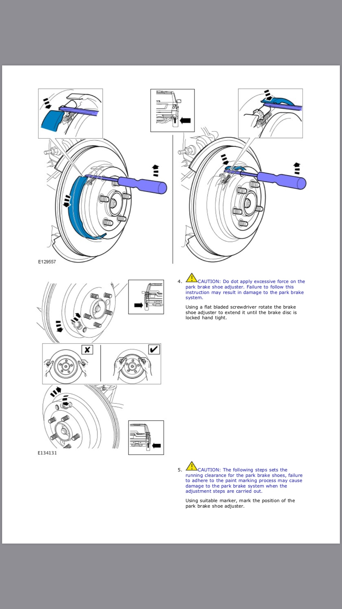 Parking brake service mode and adjustment knurl help