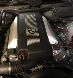 where is it specifically on the 540i right side of the engine bay on the strut housing here are some pictures with zoom  [ 1536 x 1152 Pixel ]