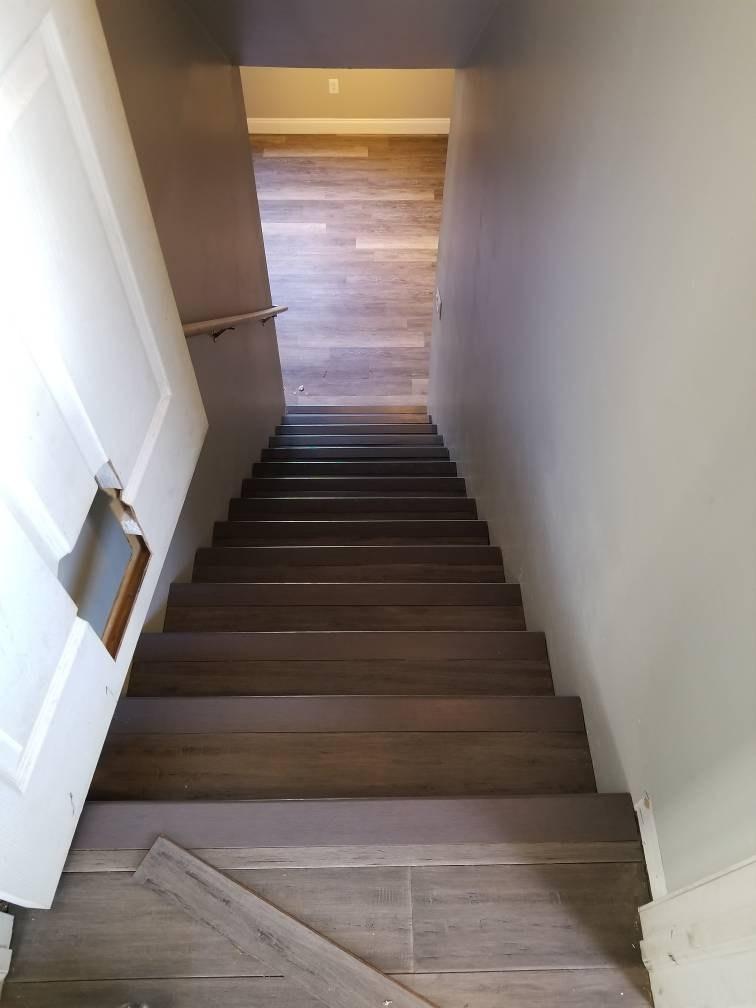 Engineered Wood On Stairs Flooring Contractor Talk   Engineered Wood Stair Treads   Platform   Modern White Oak Stair   Engineered Hardwood   Wood Plank   Plywood