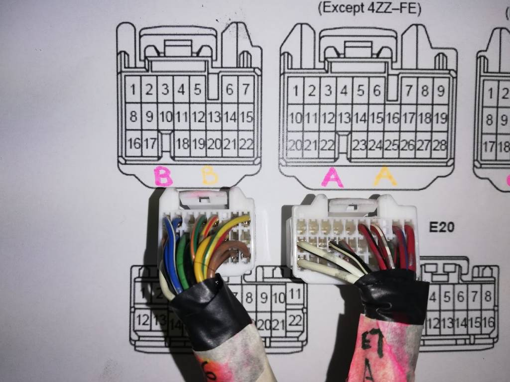 hight resolution of pins c8 c9 from c plug to pin b16 b25 change from left o2 sensor on 1zz to post cat on 2zz