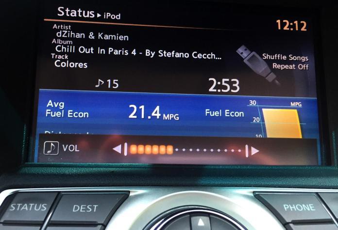 Car dashboard screen with visual feedback demonstrating an interaction design principle