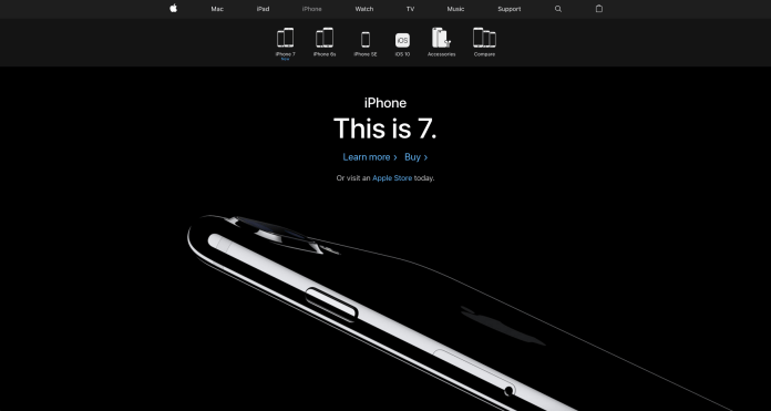 Apple website aesthetic and minimalist design, a UX and interaction design principle