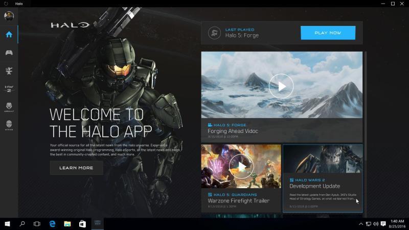 El diseño de Halo App Windows con fondo oscuro
