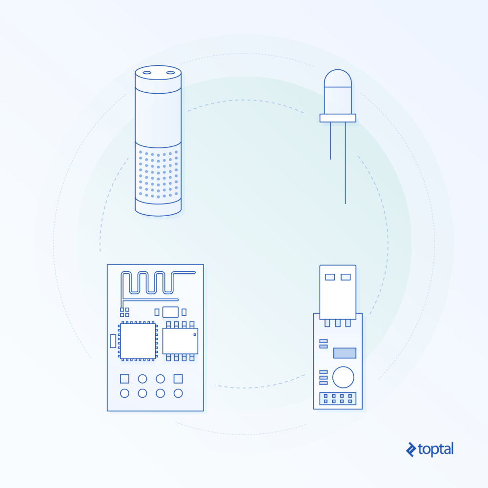 medium resolution of abstract graphic representation of pieces of hardware including an alexa tower and an arduino board