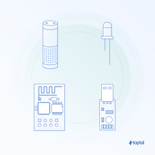 small resolution of abstract graphic representation of pieces of hardware including an alexa tower and an arduino board